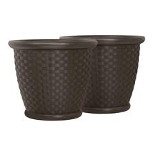 "Round Planter Resin Outdoor Patio Floor Plant Flower Vase Pot Barrel Brown 22"" 2"