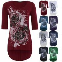 Womens Plus Size High Low Top Ladies 3/4 Sleeve Rose Glitter Jersey Long T Shirt