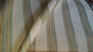 RAILROADED WOVEN  TEXTURED  STRIPE BLUE  GREEN GOLD BROWN UPHOLSTERY FABRIC