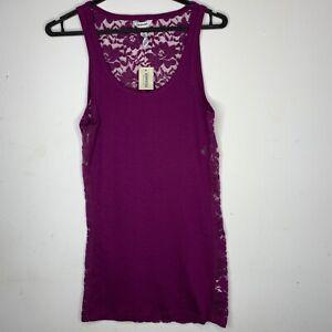 Purple Aeropostale Tank Top - Floral Lace Singlet Tee - Brand New - Size M L