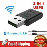2 in 1 USB Bluetooth 5.0 Audio Receiver Transmitter Wireless Adapter Dongle Aux