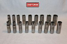 NEW Craftsman 18 Pc 1/2 in. Drive  6 pt LASER ETCHED Deep Socket Set SAE Metric