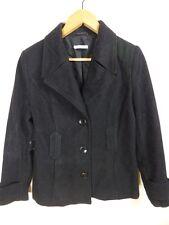 REDUCED! black WOOL mix detailed tailored jacket coat sz 10
