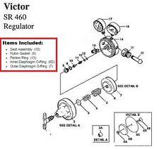 Victor SR460A Acetylene Regulator Rebuild/Repair Parts Kit, 0790-0105
