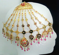 Indian Jewelry Bellydance Women 22KGoldPlated Tika Jhumoor Jhumar Head Decor #A2