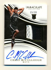 2015-16 PANINI IMMACULATE CHRIS MCCULLOUGH RC 2CLR PATCH AUTO RPA NETS #15/99