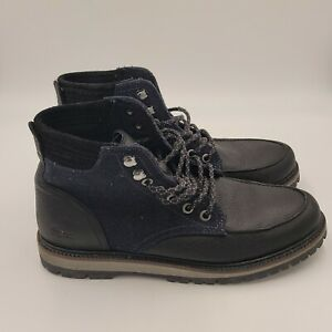 Size 8.5 Lacoste Black Pebble Leather Montbard Wool Lace Up Round Toe Boots