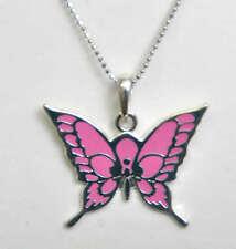 Pink BUTTERFLY Schmetterling Anhänger mit Kette - HALSKETTE Rockabilly
