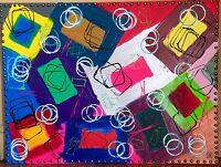"""ART ABSTRAIT PEINTURE  street art """"CHEMIN D HERMES"""" ACRYLIQUE  60 X 80 CM🦋"""