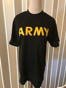 Men's Shirt Small Size Army Tee Short Sleeve Black