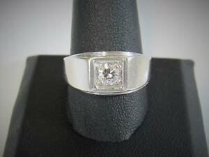 Vintage Men's Solid 14K White Gold .50 Ct Diamond Solitaire Ring Size 10.5