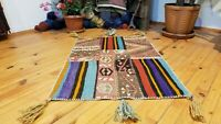 "Vintage Bohemian 1960-1970's Overdyed Patchwork Rug 2' 2""× 3'2"""