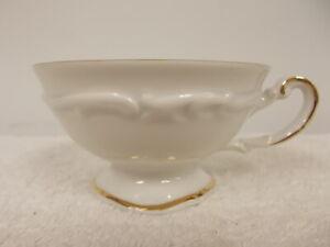 Vintage Hertel Jacob White & Gold Trim Margaret Porcelain Coffee Tea Cup Mug