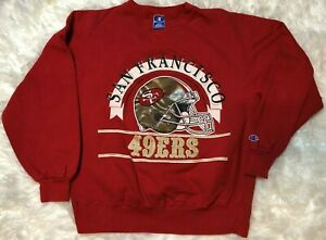 Vintage 90s Champion Sweatshirt NFL San Francisco 49ers Red Made in USA Large