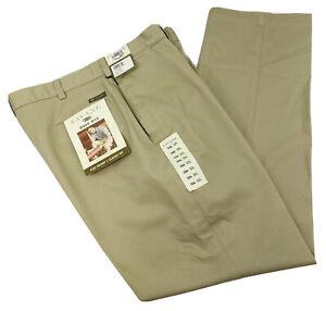 Savane Men's Size 38 x 32 Deep Dye Wrinkle Free Flat Front Khaki Dress Pants NWT