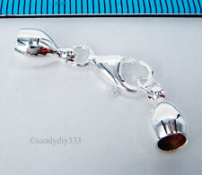 1x BRIGHT STERLING SILVER END CAP 4.4mm CORD with LOBSTER CLASP #1628