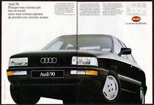 1988 AUDI 90 Vintage Original 2 page Print AD - Black car sedan photo France