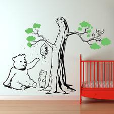 Teddy bear Tree wall sticker art decal forest theme kids bedroom decor w218