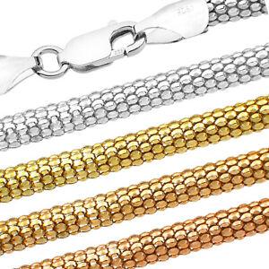 Popcorn Silberkette - SS 925 - 1.2-3.6 mm + 40,45,50,55,60,65,70,75 cm