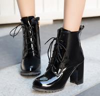 Womens Winter Fashion Ankle Boots Lace Up Patent Leather Chunky Heels Shoes Size