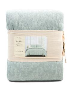 NIcole Miller Artelier Savoy Waffle Garment Wash Sage Green Full/Queen Comforter