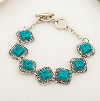 Fashion Women Cube Turquoise Charm Bracelet Bangle Chain Wristband Jewelry New