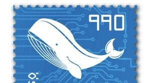 Crypto Stamp 3.0, Motiv Wal, NEU / NEW, Blau Blue, Ausverkauft / 6 Stellig