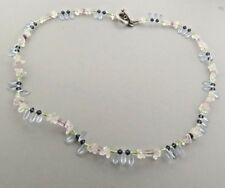 "Crystal Blue Topaz Toggle Necklace Strand 10 mm 21"""
