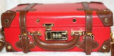 Steamline Luggage Red w/Brown Straps Hard-Shell Suitcase Travel Handbag
