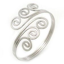 Greek Style Twirl Upper Arm, Armlet Bracelet In Silver Plating - Adjustable