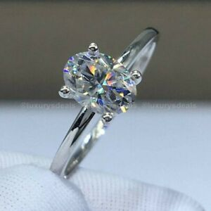 2.50 Carat Oval Cut Moissanite Solitaire Engagement Ring Solid 14k White Gold
