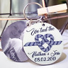 Personalised 'TIED THE KNOT' Anniversary Engagement Wedding Keyring Gift