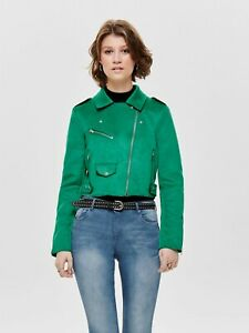 Womens ONLY bright green faux leather Suede crop biker jacket SIZE 36 UK 8