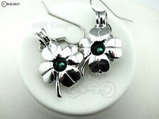Pick A Pearl Cage Silver Plated Four Leaf Clover Earrings Locket Charm GREEN