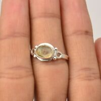 Golden Rutile Gemstone Handmade Jewelry 925 Solid Sterling Silver Ring Size 7