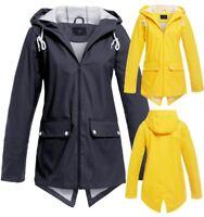 Womens Waterproof Windproof Raincoat Hooded Jacket Yellow Navy Blue Size 8 to 16