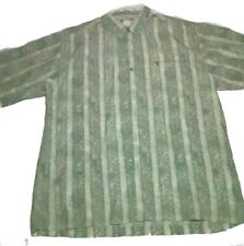 The North Face Mens Button Up Zipper Pocket Casual Dress Shirt L Green Pattern