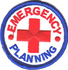 """EMERGENCY PLANNING"" IRON ON PATCH - First Aid Supplies, Red Cross, Bandages"