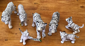 Schleich White Tiger Family - 4 Adult 3 Cubs most with tags