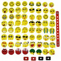 Kids Gifts 64pcs Mixed Emoticons Shoe Charms Adapters Fit Hole Clogs Wriatbands