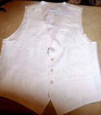 Nordstrom Men M FAB White 100% Linen Vest, 5 Btn Closure 2 Front Pockets NEW NWT
