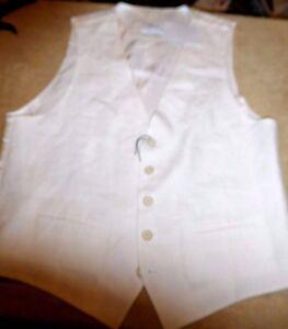 Nordstrom Men M FAB White 100% Linen Vest, 5 Btn Closure 2 Front Pockets NEW NWT