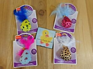 Hartz CATNIP TOY Mouse Soft Paw Swatter Fabric Feathers Bell ONE You Pick Color