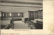 Steamship Holland Amerika America Line Smoking Room 2nd Class c1910 PC