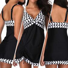 Plus Size Women Swimdress+Shorts Braces Tankini Set Two Piece Swimsuit Swimwear