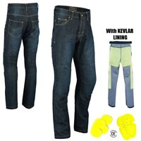 Mens Motorcycle Jeans Motorbike Pant Made with Kevlar Trousers CE Armoured Blue