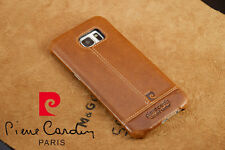 PIERRE CARDIN Genuine Leather Back Case Cover For Samsung Galaxy S7 Edge Brown
