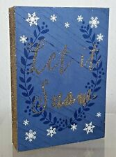 LET IT SNOW Holiday Wooden Art Box 5x7 Sz Blue & Silver Glitter Colors A300