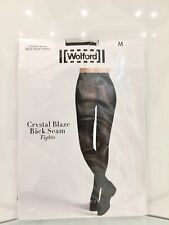 Wolford Limited Edition Swarovski Crystal Blaze Back Seam Tights Brand New