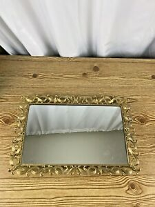 Vintage Brass Vanity Mirror Tray Filagree Edge Mid Century Modern Decor mirror